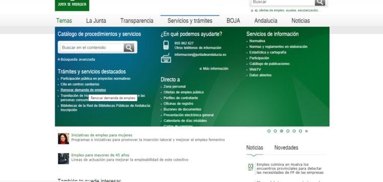 sellar tarjeta paro por internet Andalucía